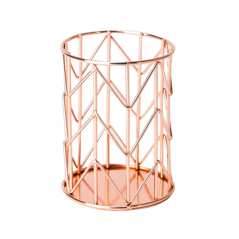 U Brands Pencil Cup, Wire Metal, Copper/Rose Gold