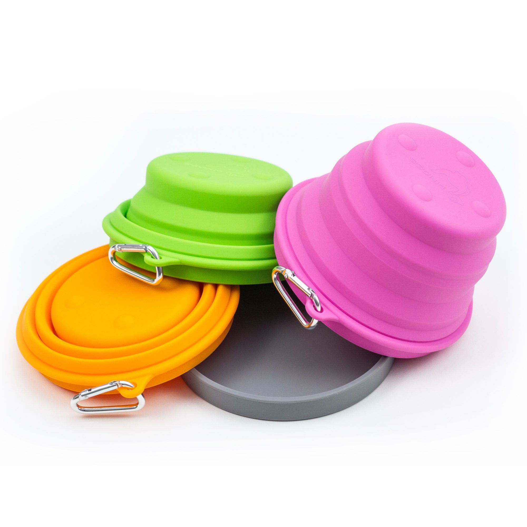 Silicone Collapsible Bowl By Dinoss. Premium Set of 3 Travel Pet/Dog/Cat Bowls, Lid and Carbin. Size: 2 Cups. Ideal for Sport & Outdoor As Food or Water Container. Your Furry Friends Deserve the Best!