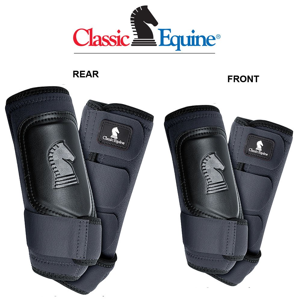 4 PACK CLASSIC EQUINE CROSS FIT HORSE LEG BOOT FRONT REAR HIND BLACK - SMALL