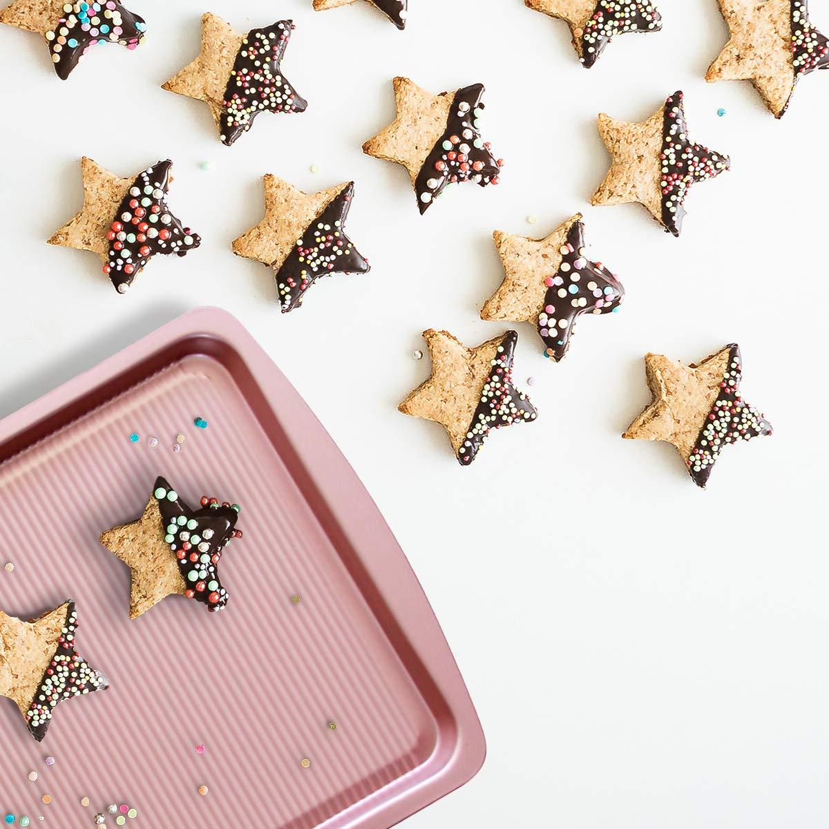 Bakeware Set, TOPTIER 6 Piece Nonstick Baking Pan Sets with Cookie Baking Sheets, Muffin Pan, Loaf Pan, Round Cake Pan, Roasting Pan for Baking | Prime Housewarming & Wedding Gift, Rose Gold by toptier (Image #8)