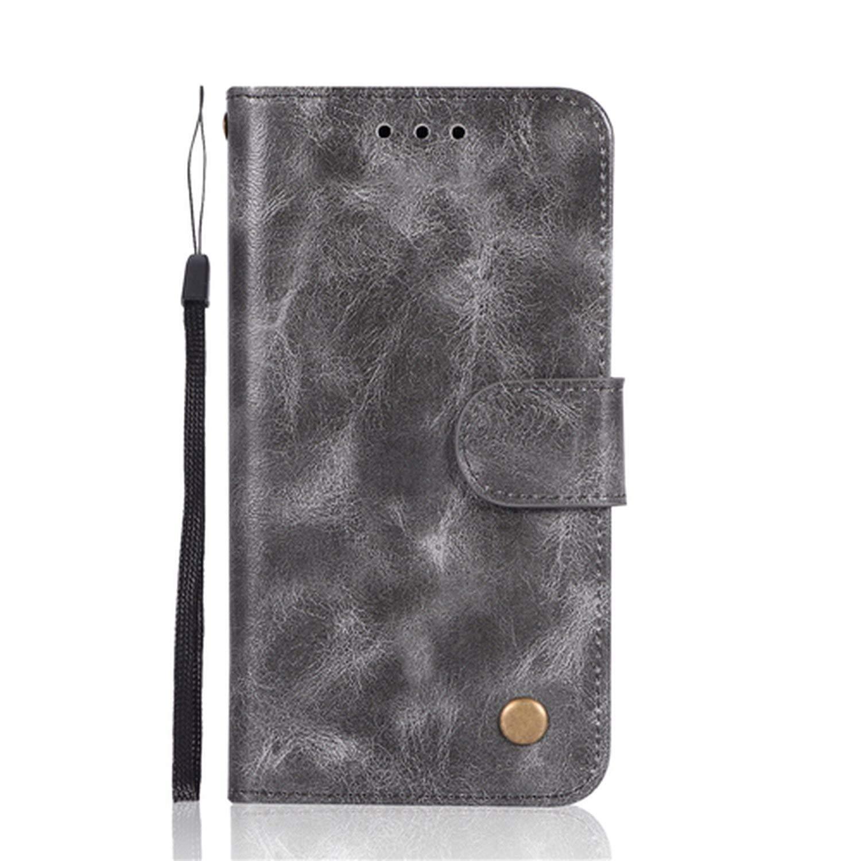 Retro Genuine Leather Flip Case for LG V30 K10 2018 G6 Q6 Q8 Stylo 2 3 4 Plus X G7 ThinQ Power Style Wallet Cover Purse,Gray,Stylo 2 Plus LS775