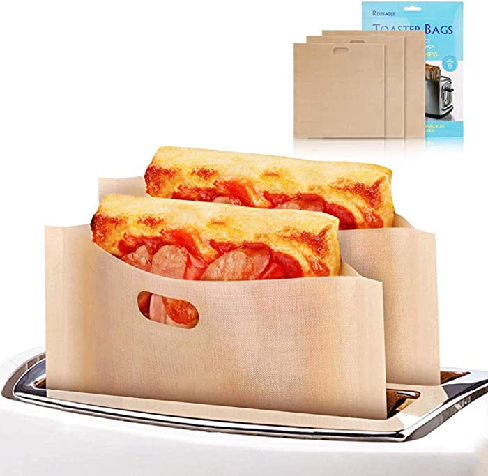 Upriver 6 Pack Toaster Bags Non Stick Reusable Toaster Bags Grilled Cheese Toaster Bags 3 Size Gluten Free Toaster Bags for Sandwiches Pizza Slices Chicken Nuggets Panini Heat Resistant