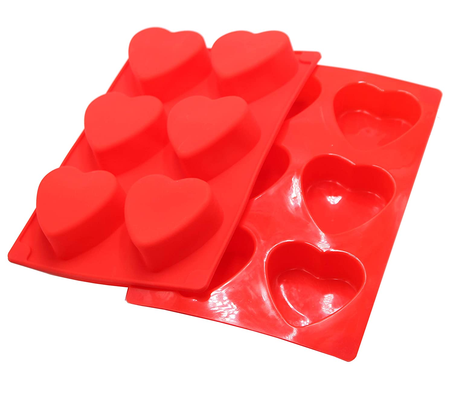 Soap Candles and Jelly 2 Packs Valentines Day Love Heart Shape Molds for Making Handmade Soap 6-Cavity Heart Silicone Mold Red Chocolate