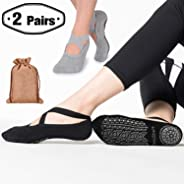 Yoga Grip Socks for Woman,Pilates Socks with Keeping-on Straps,SemiShare Non-Slip Barre Sticky Socks for Pilates, Pure Barre,
