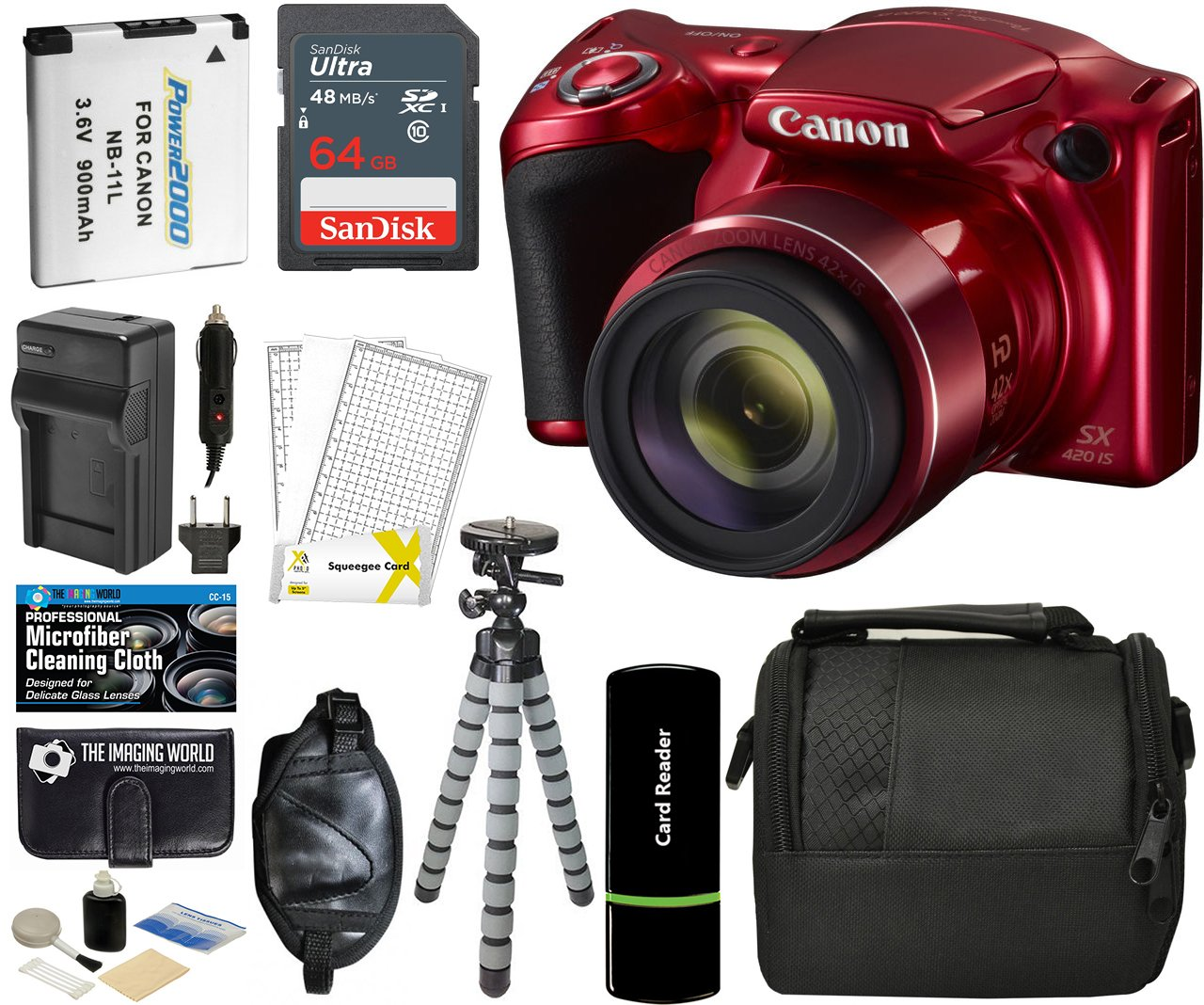 Canon PowerShot SX420 IS Digital Camera (Red) with 20MP, 42x Optical Zoom, 720p HD Video & Built-In Wi-Fi + 64GB Card + Reader + Grip + Spare Battery and Charger + Tripod + Complete Accessory Bundle by The Imaging World