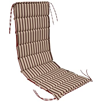Gartenmöbel Auflage für Sonnenliege grau-rot gestreift Liegenauflage