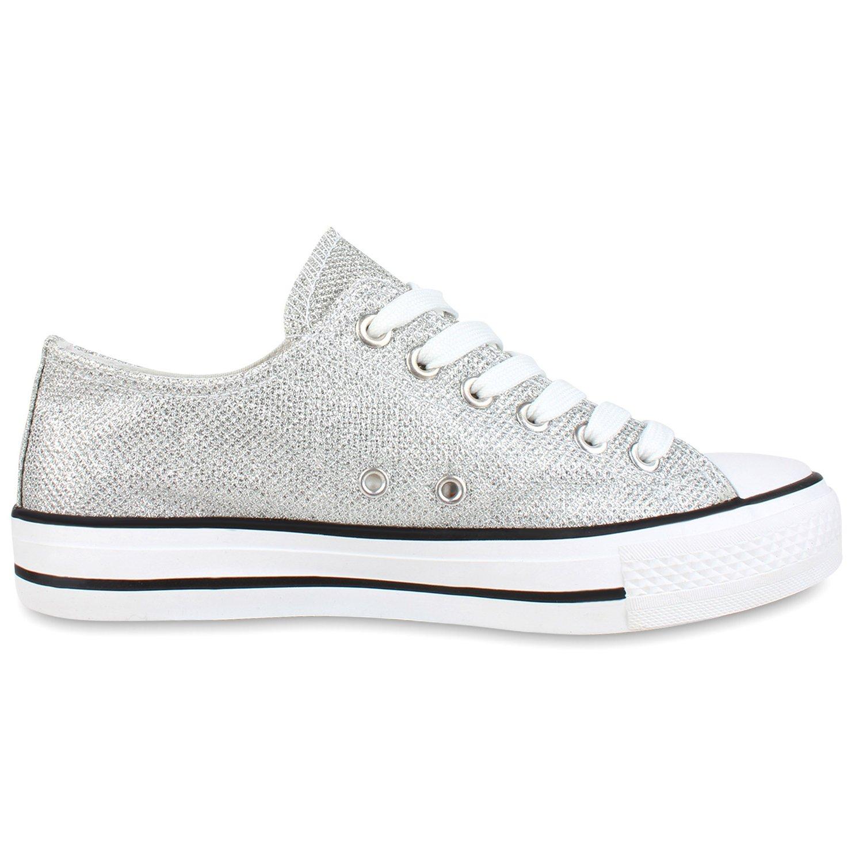 Japado Elegante Damen Sneakers Low Glitzer Canvas 36-41 Schuhe Turnschuhe Freizeit Gr. 36-41 Canvas Silber Shiny Metallic 94128f