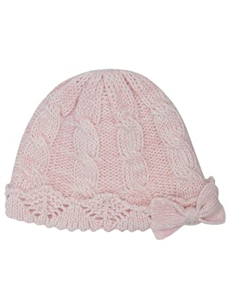 d378ec36b8c M Co Baby Girl Plain Pink Cable Knit Design Bow Applique Knitted Beanie Hat   Amazon.co.uk  Clothing