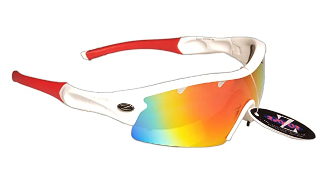 Rayzor Professionelle Leichte UV400 Weiß Sports Wrap Segelsport Sonnenbrille, mit einem roten Iridium Mirrored Blend Lens.