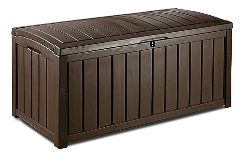 Keter Glenwood Outdoor Plastic Storage Box Garden Furniture, Brown, 128 X  65 X 61