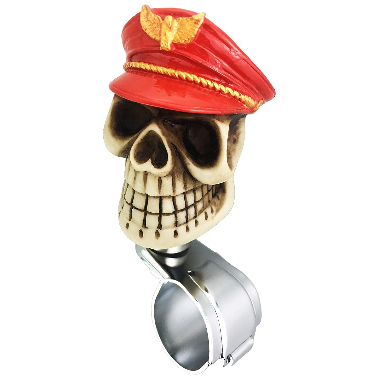 Cyan LUNSOM Cool Power Handle Spinner Skull Steering Wheel Knob for Car Accessory Universal Red Spinner Wheel