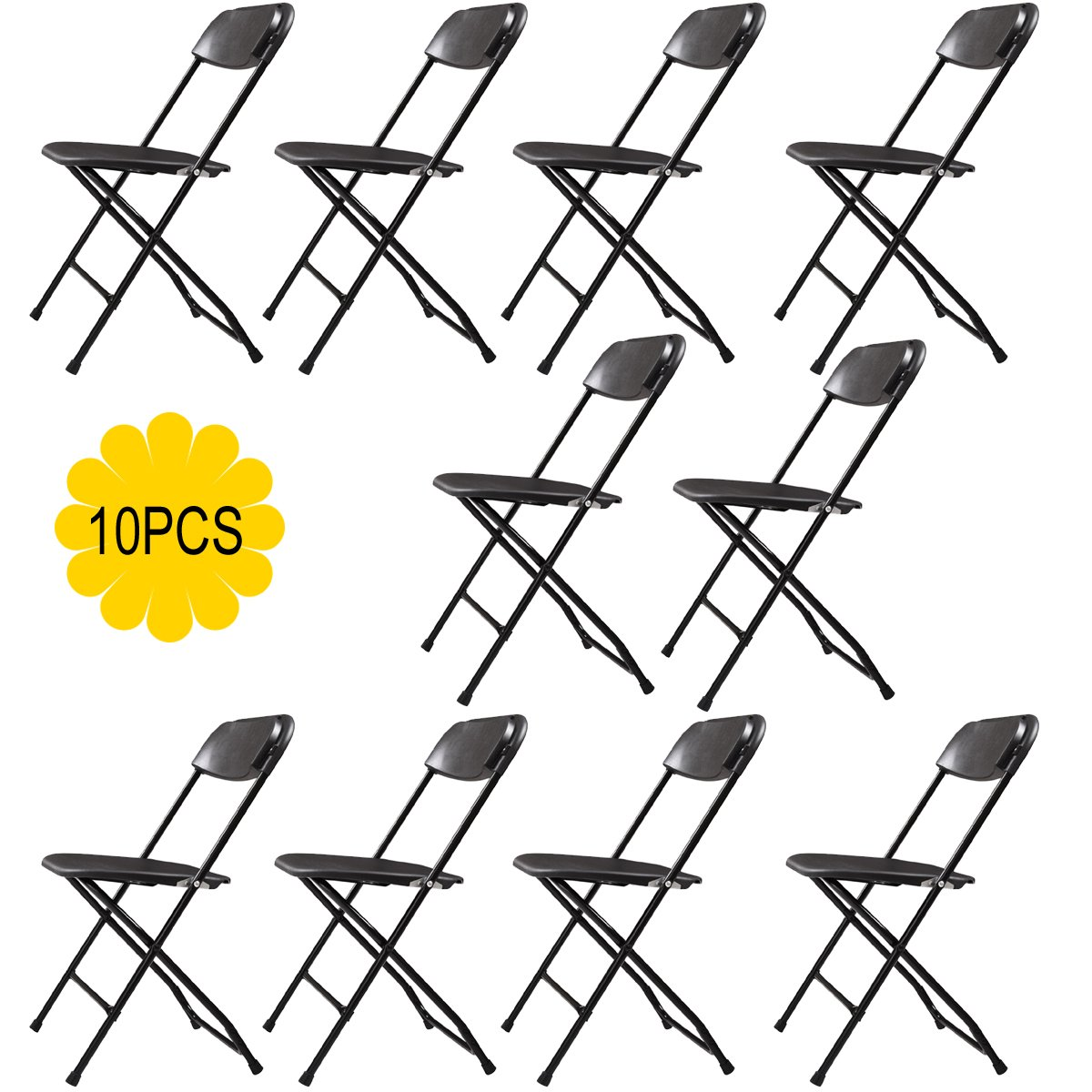 JAXPETY Commercial Plastic Folding Chairs Stackable Wedding Party Event Chair Black 10-Pack