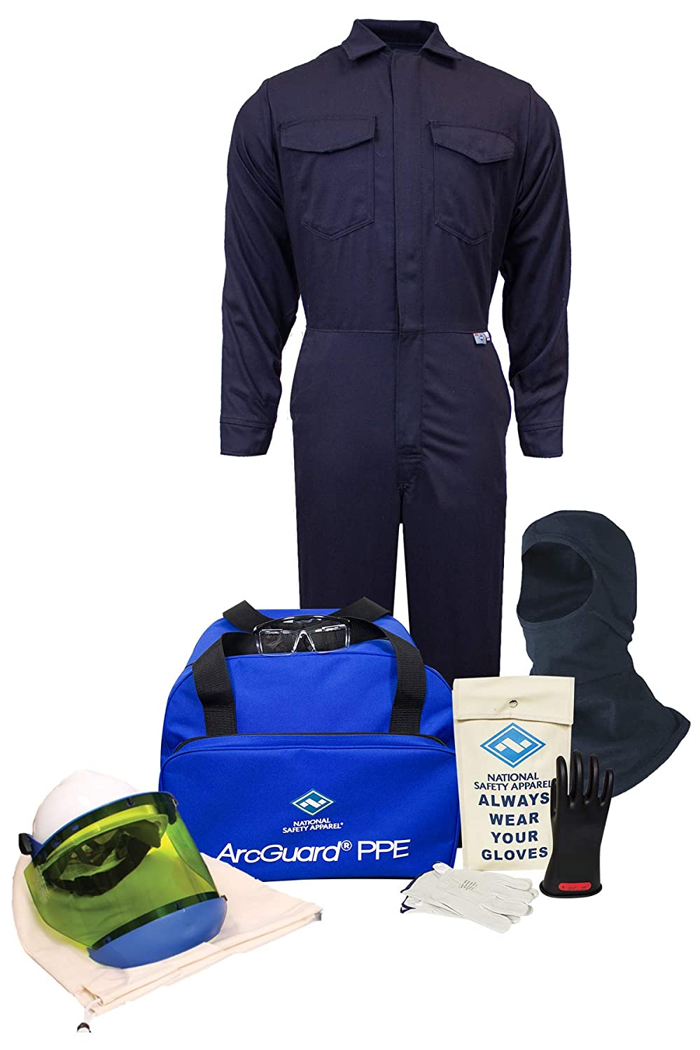 National Safety Apparel KIT2CV11SM08 ArcGuard UltraSoft Arc Flash Kit with Coverall Small Size 8 12 Calorie Navy Inc.