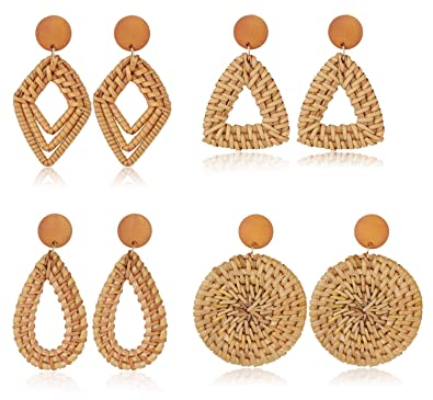 4 Pair Rattan Dangle Earrings
