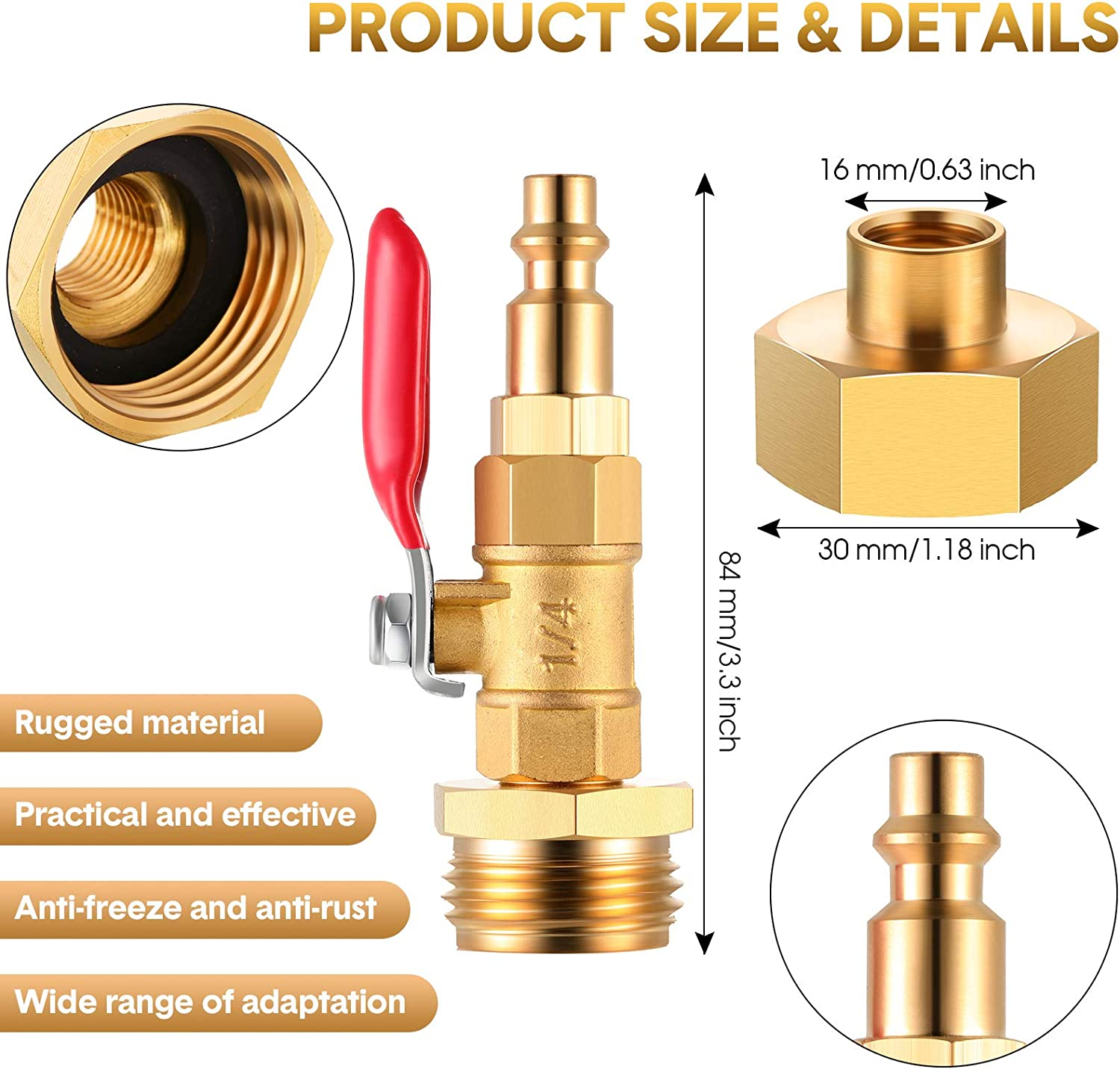 Brass Made 3//4 Inch Female Thread Brass Adapter and Roll of Tape Winterize Blowout Adapter Winterizing Quick Adapter with Ball Valve with 1//4 Inch Connecting Plug and 3//4 Inch Male GHT Thread