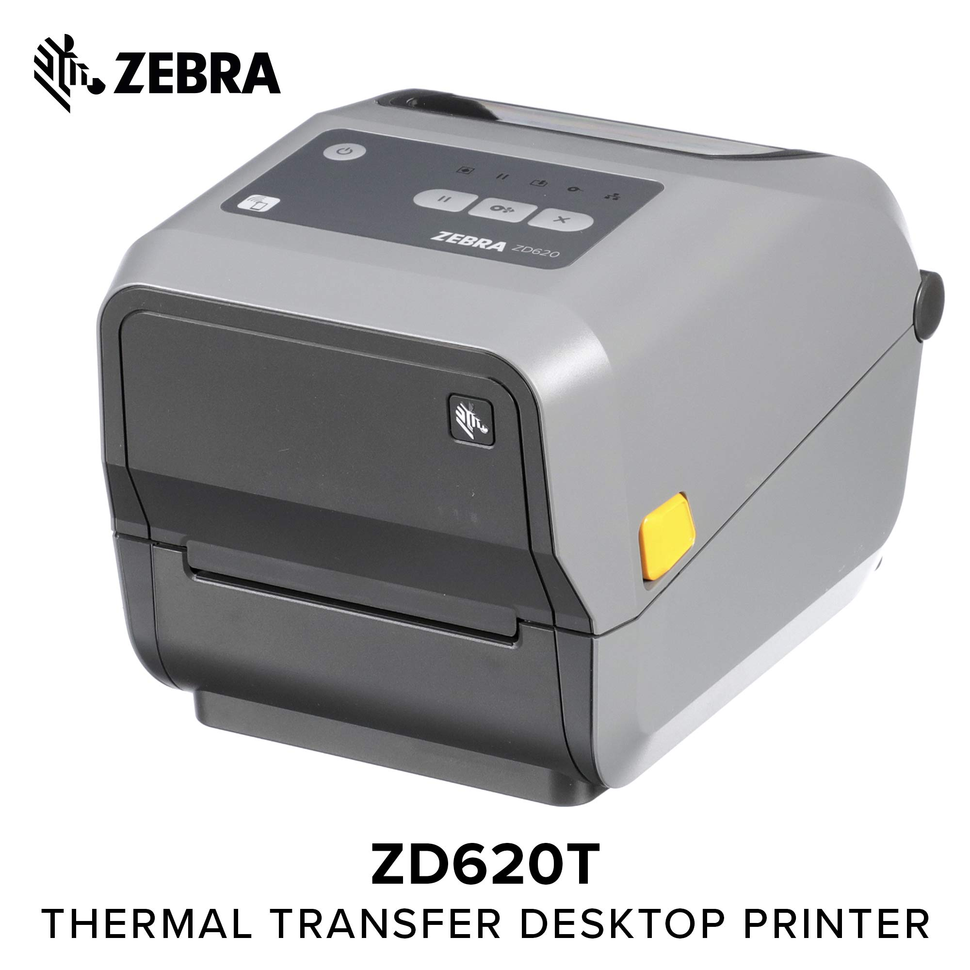 Zebra - ZD620t Thermal Transfer Desktop Printer for Labels and Barcodes - Print Width 4 in - 300 dpi - Interface: Ethernet, Serial, USB - ZD62043-T01F00EZ