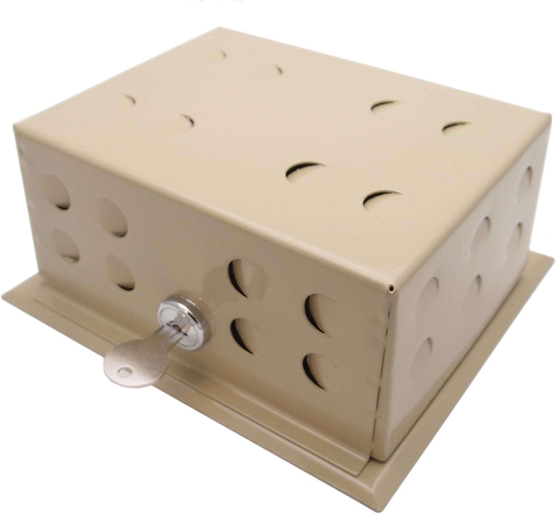 """Beige Metal Thermostat Guard - 6.25"""" x 4.75"""" - Medium - With Lock & Key"""