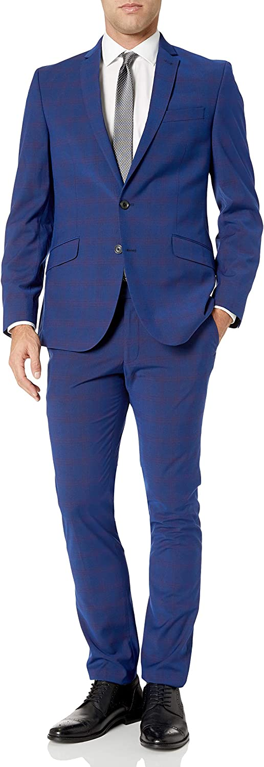 "Billy London Men's Slim Fit Stretch 32"" Finished Bottom Suit, Blue/Burg Plaid, 36R"