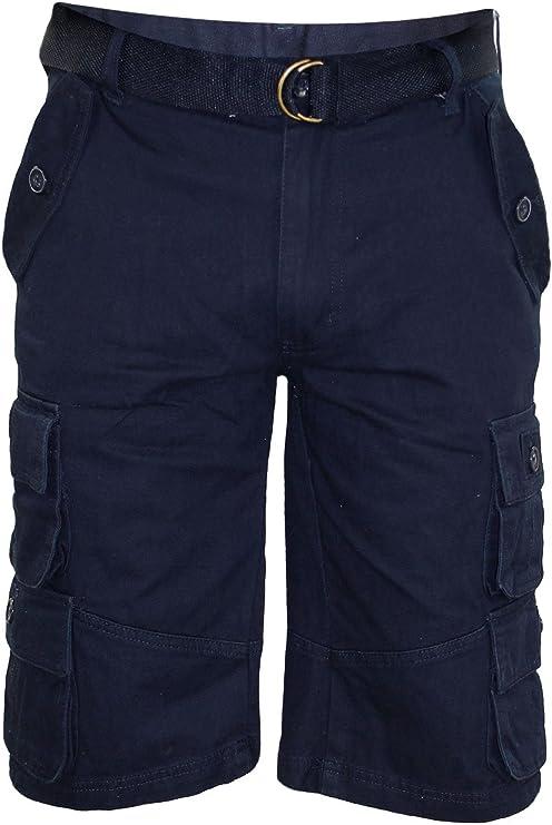 TALLA 38. Hombres liberan el cinturón de Bermudas Algodón de Combate de Bolsillo de Carga de Trabajo Shorts Pantalones Casuales