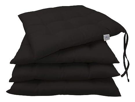 Zollner 4 cojines para silla, 40x40 cm, negro, en varios colores