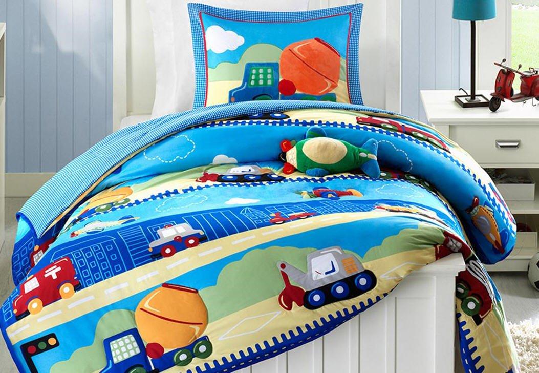 Construction Dump Trucks Boys Twin Comforter, Sham & Toss Pillow (3 Piece Bedding)