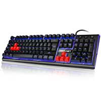 Gaming Keyboard TeckNet 105 keys 3 Color LED Backlit Mechanical Feeling USB Wired Gaming Keyboard, UK Layout