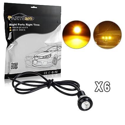 Partsam 6 X 3000K Amber LED Lamps Eagle Eye Lights Raptor Style Front  Grille Lighting Kit