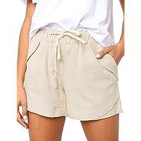 CILKOO Women's Drawstring Elastic Waist Casual Comfy Cotton Linen Beach Shorts(S-XXL)
