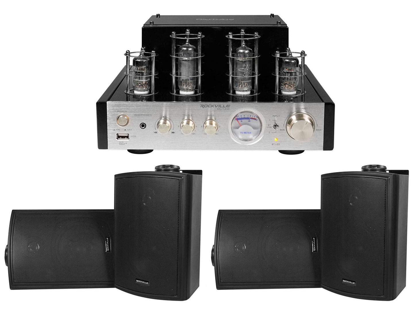 Rockville BluTube Tube Amplifier/Home Theater Receiver+(4) 5.25'' Swivel Speakers by Rockville