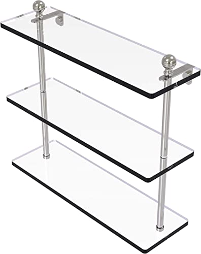 Allied Brass MA-5 16 Mambo Collection 16 Inch Triple Tiered Glass Shelf, Satin Nickel