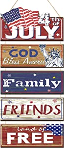 4th of July Wooden Happy Independence Day Sign Rustic Statue of Liberty American Flag Sign Wall Hanging Plaque Large Rustic Patriotic Hanger Wall Decor for Home, Fourth of July Party, Independence Day