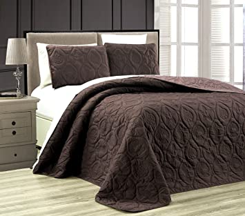 3 Piece Tropical Coast Seashell Beach KING Oversize OVERSIZE Bedspread  CHOCOLATE BROWN / TAUPE Reversible