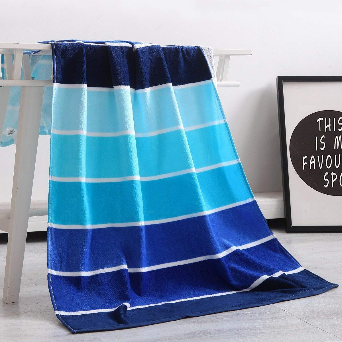 Exclusivo Mezcla 100% Cotton Beach Towel, Pool Towel Gradient Blue Striped (30'' x 60'')-Soft, Quick Dry, Lightweight, Absorbent, and Plush