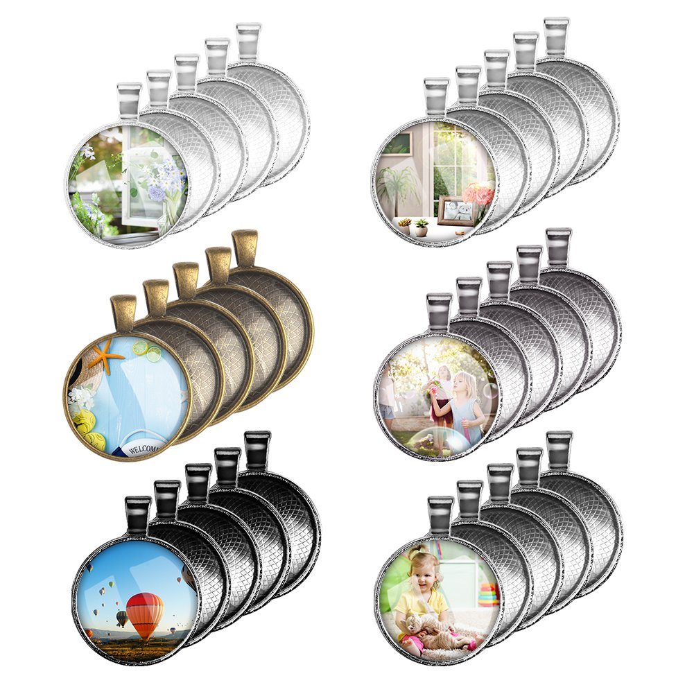 30 Pcs Pendant Trays with 30 Pcs Glass Cabochon Clear Dome Totally 60 Pieces Accmor 6 Colors Pendant Trays Round Bezel 1 inch//25mm Pendant Blanks for Photo Pendant Craft Jewelry Making