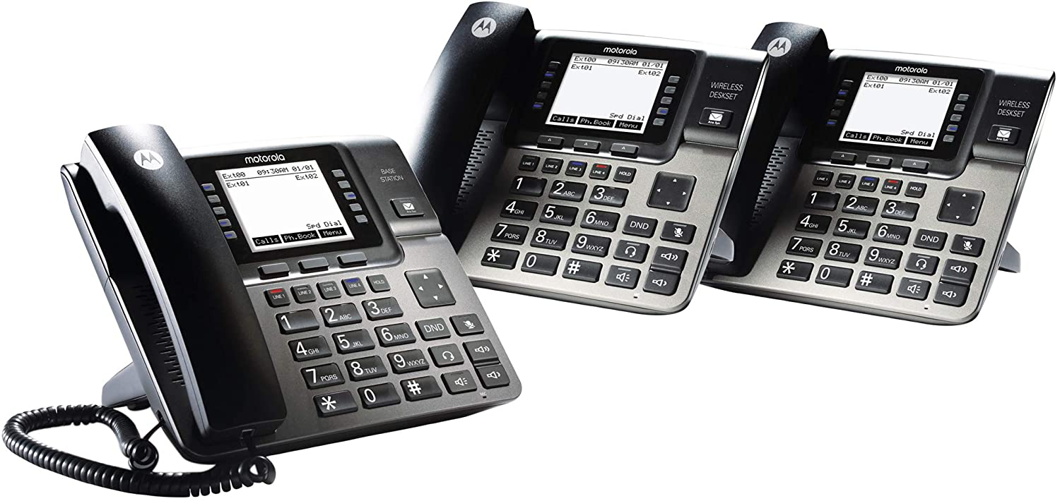 Motorola ML1002D DECT 6.0 Expandable 4-line Business Phone System with Voicemail, Digital Receptionist and Music on Hold, Black, 2 Desksets