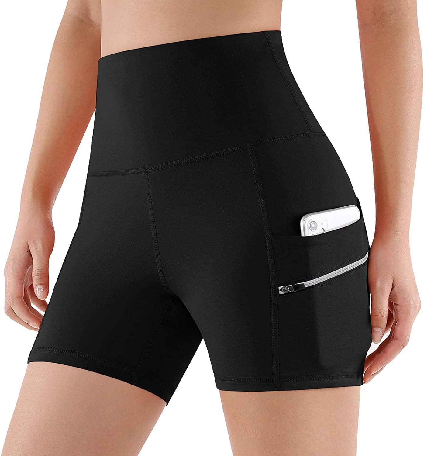 ODODOS Women's Dual Pockets High Waisted Workout Shorts, Yoga Running Cycling Hiking Athletic Shorts