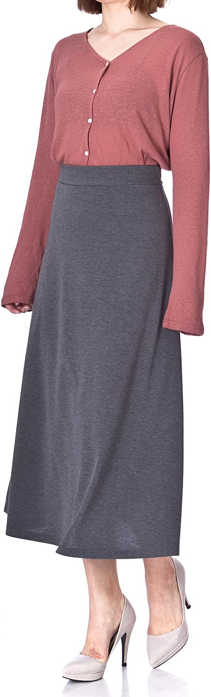 Dani's Choice Plain Beauty Casual Office High Waist A-line Full Flared Swing Skater Maxi Long Skirt