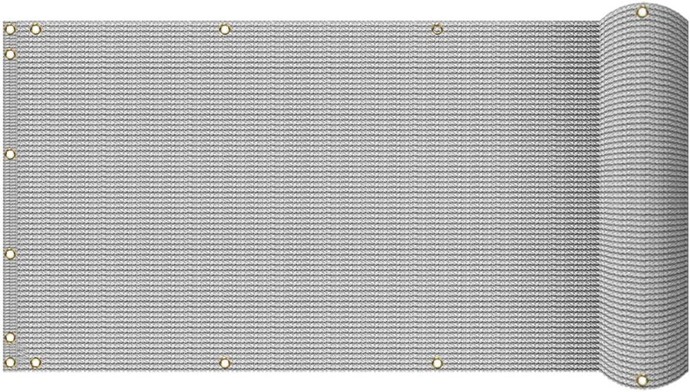 TANG 3' x 25' Gray/Grey Residential Commercial Privacy Deck Fence Screen 200 GSM Weather Resistant Outdoor Protection Fencing Net for Balcony Verandah Porch Patio Pool Backyard Rails