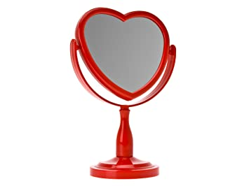 stand up vanity mirror. Wanted Brand Plastic Rotating Stand Up Heart Mirror  Red Amazon com