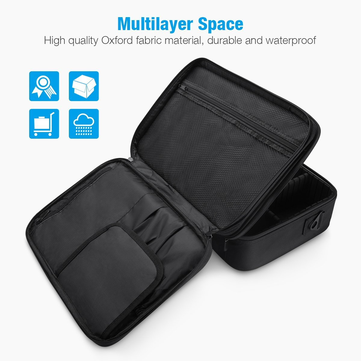 3 Layers Waterproof Makeup Travel Bag 15.1 Inch Makeup Train Case Makeup Bag Organizer with Adjustable Dividers for Cosmetics Makeup Brushes Jewelry Digital Accessories (Black-M) by LEPO (Image #5)