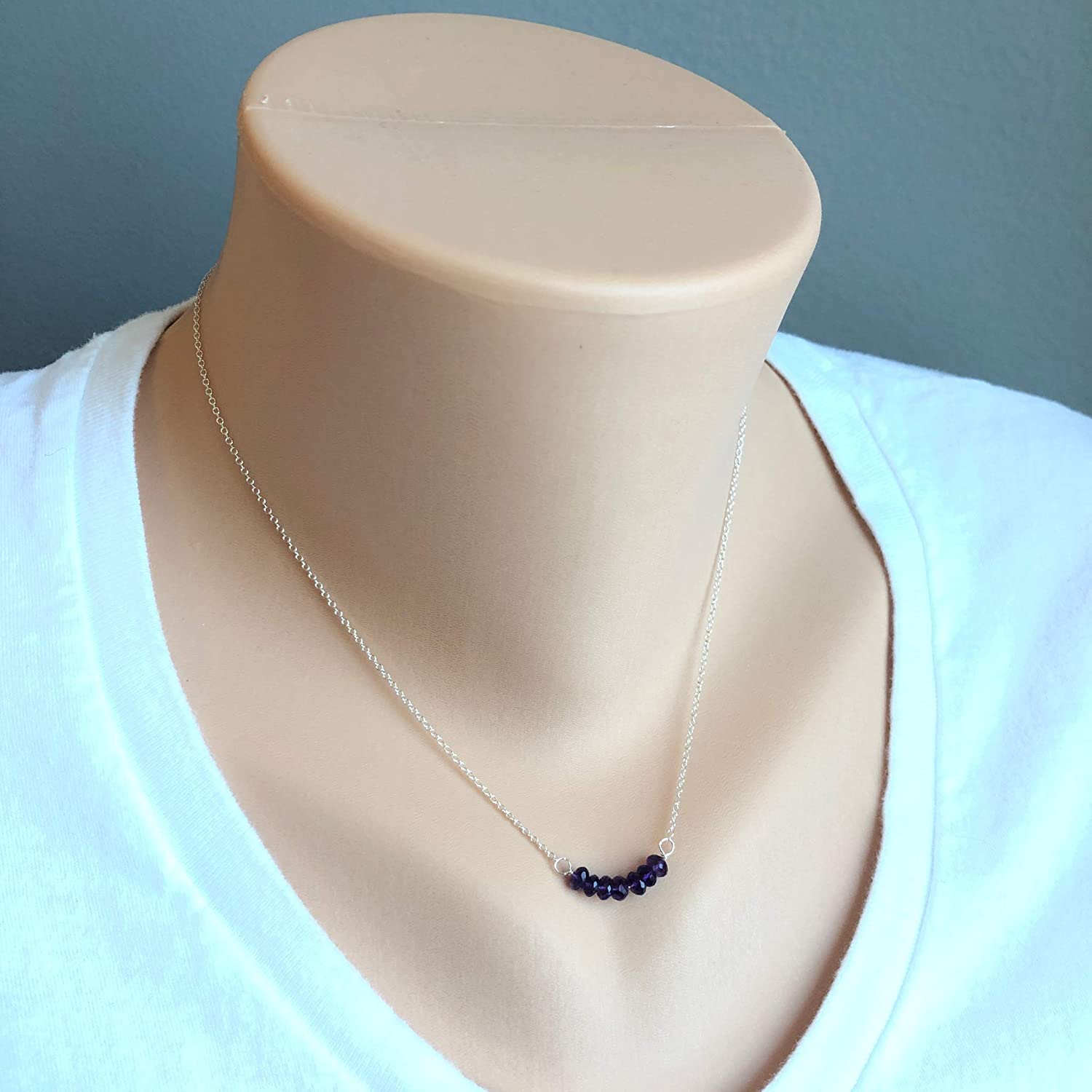 """16/"""" MSRP $87 Details about  /Sterling Silver Amethyst Bar With 2/"""" Extension Necklace"""
