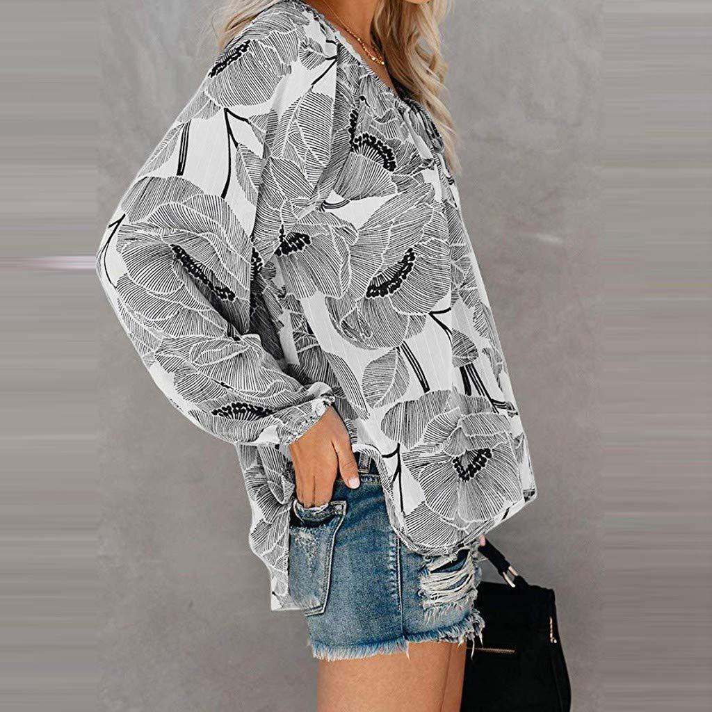 Mujer Fiesta Blusas Mujer Fiesta Blusas De Manga Larga para Mujer Oto/ño Camiseta Tops Casuales para Mujer Blusa Impreso De Manga Larga Vintage