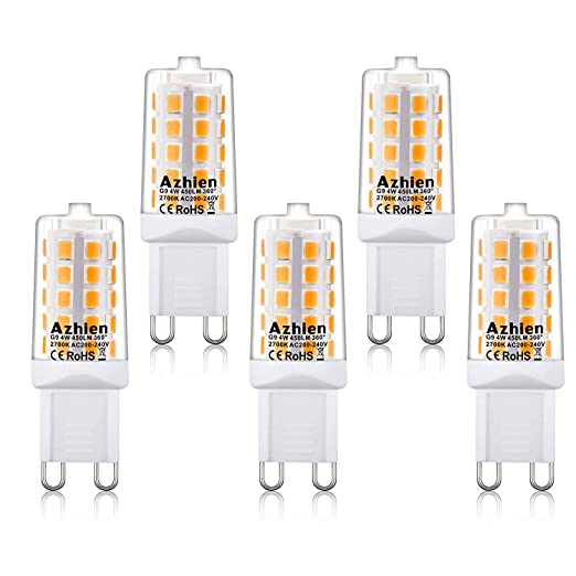 Bombillas LED G9 4W Azhien, 28W 33W 40W Equivalente de Luz Halógena, 2700K Lámparas