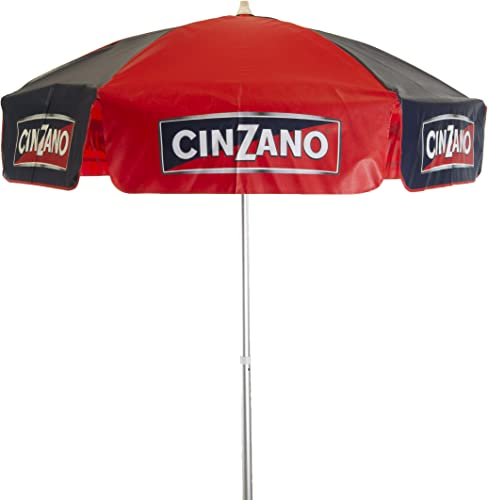 Heininger 1378 Cinzano Red and Blue 6' Vinyl Patio Pole Umbrella