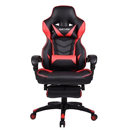 Office Racing Video Gaming Chair Ergonomic Swivel PU Leather Bucket Seat High Back Chair Footrest Padding Lumbar Support Headrest Red