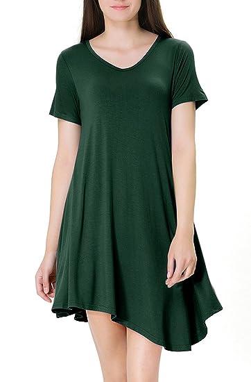 8b4d2d8022e3 Image Unavailable. Image not available for. Color  Marolaya Women s Casual  Plain Simple Pocket T-shirt Loose Dress