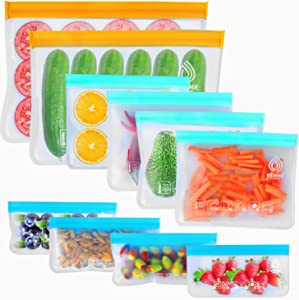 VEHHE 10 Pack Reusable Storage Bags, 2 Reusable Food Freezer Bags + 4 Reusable Sandwich Bags Washable + 4 Snack Bags Extra Thick Silicone Free Lunch Bags For Marinate Food Vegetable Meat Fruit