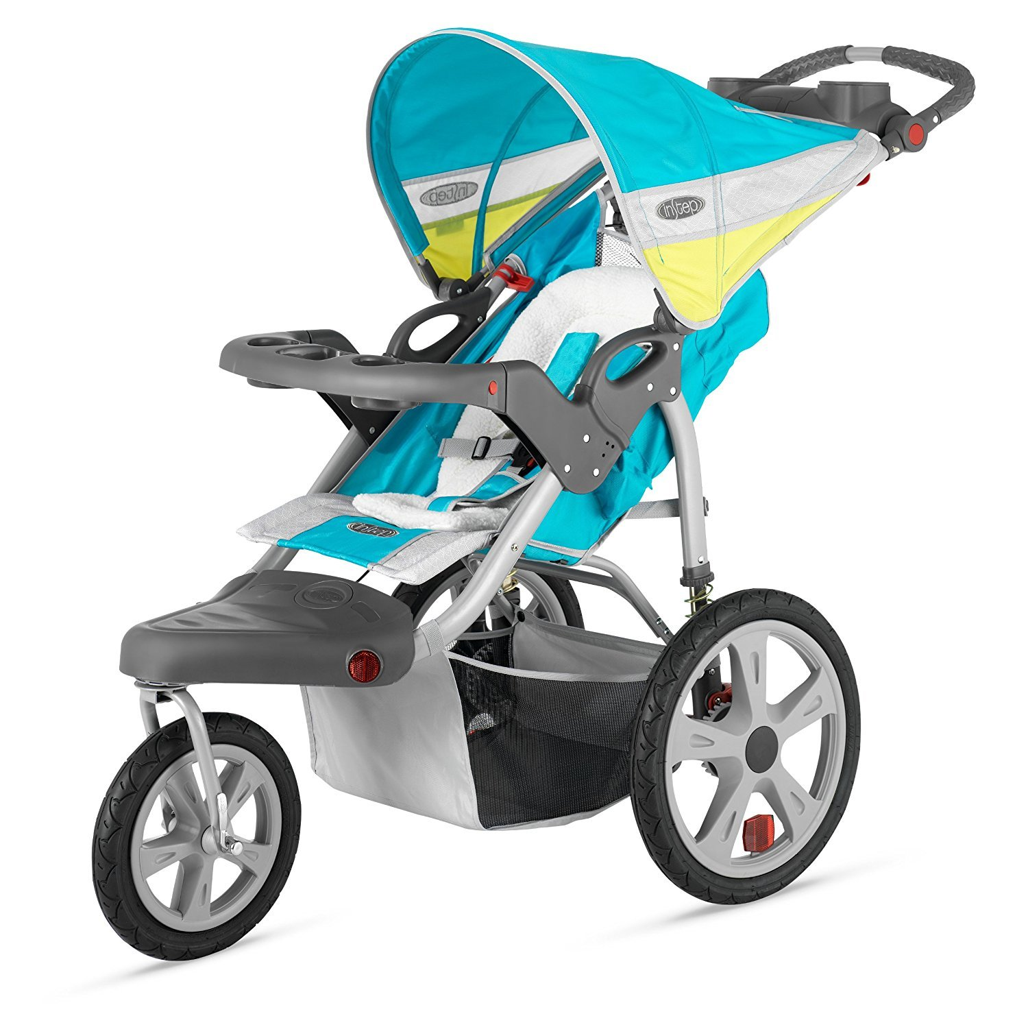 Premium Baby Stroller Jogger With Pneumatic Air Tires , Large Canopy and Storage Basket For Infants, Toddlers And Kids, Blue-Yellow