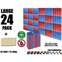 Arrowzoom New 24 Pieces of Soundproofing Insulation Wedge Acoustic Wall Foam Padding Studio Foam Tiles AZ1134