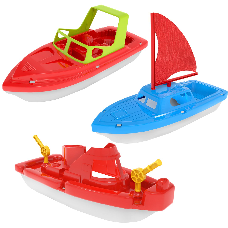 Amazon.com: Fun Little Toys Bath Boat Toy, Pool Toy, 3 PCs Yacht ...